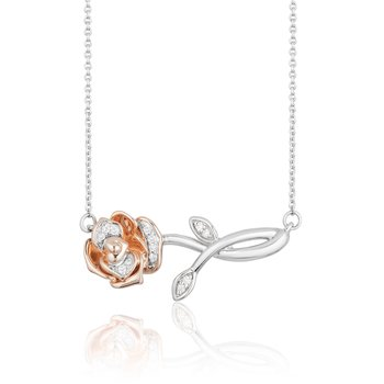 Sterling Silver & 10KP 1/20CTW Belle Rose Necklace