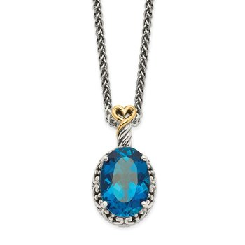 Sterling Silver w/14ky London Blue Topaz Oval Necklace