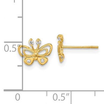 14k Madi K Polished CZ Butterfly Post Earrings