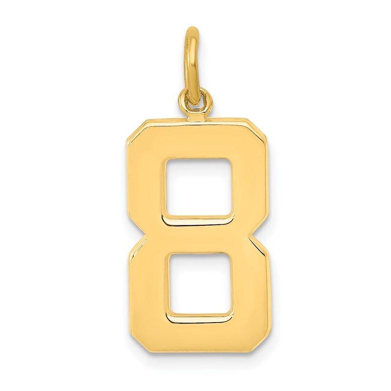 Quality Gold 14ky Casted Large Polished Number 8 Charm