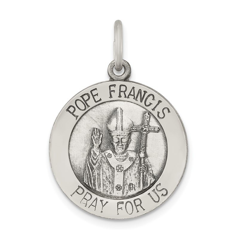 Quality Gold Sterling Silver Antiqued and Brushed Pope Francis Medal