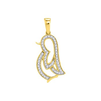 10kt Yellow Gold Womens Round Diamond Penguin Bird Animal Pendant 1/8 Cttw