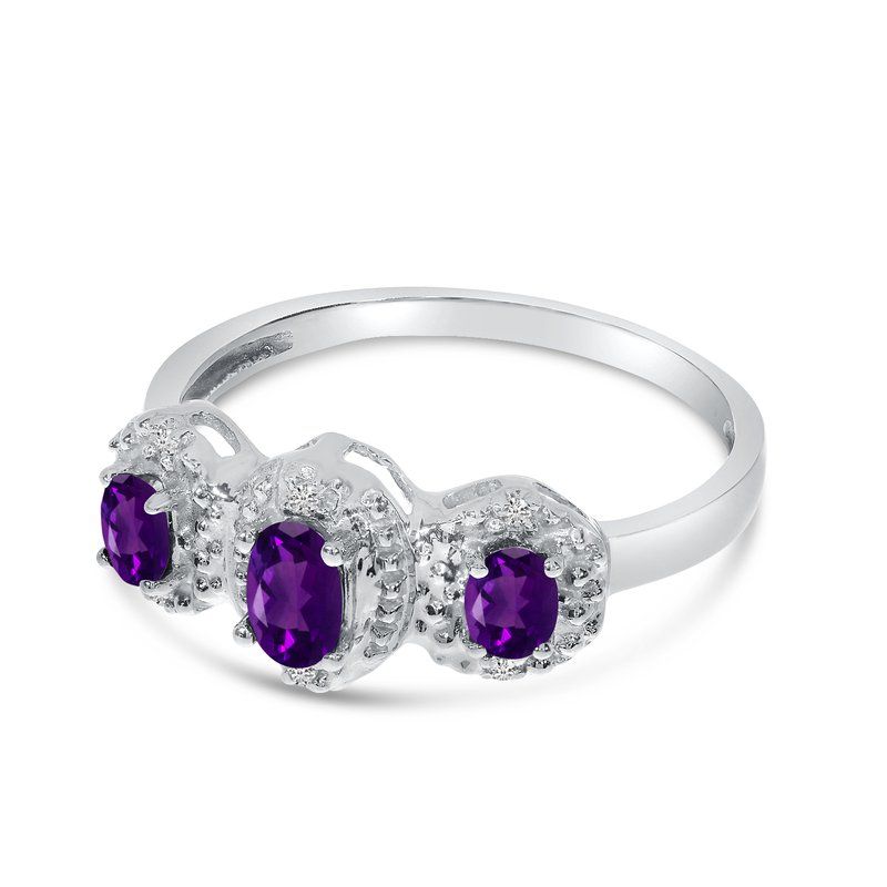 14k White Gold Oval Amethyst And Diamond Three Stone Ring