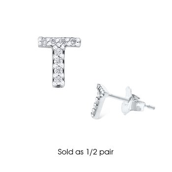 "Diamond Single Initial ""T"" Stud Earring (1/2 pair)"