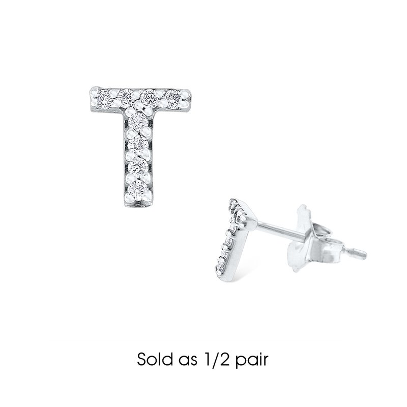 "KC Designs Diamond Single Initial ""T"" Stud Earring (1/2 pair)"