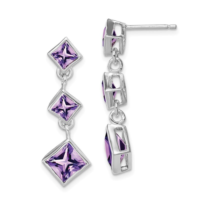 Arizona Diamond Center Collection Sterling Silver Rhodium-plated Polished Amethyst Post Dangle Earrings