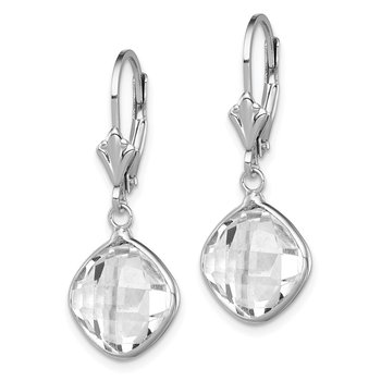 Sterling Silver Rhodium-plated White Topaz Dangle Lever Back Earrings