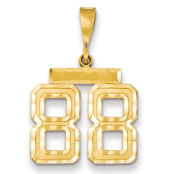 14k Medium Diamond-cut Number 88 Charm