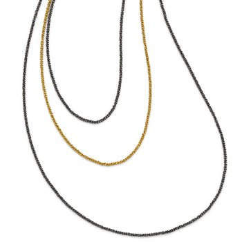 Leslie's Sterling Silver Ruthenium & Gold-plated 3 Strand Necklace