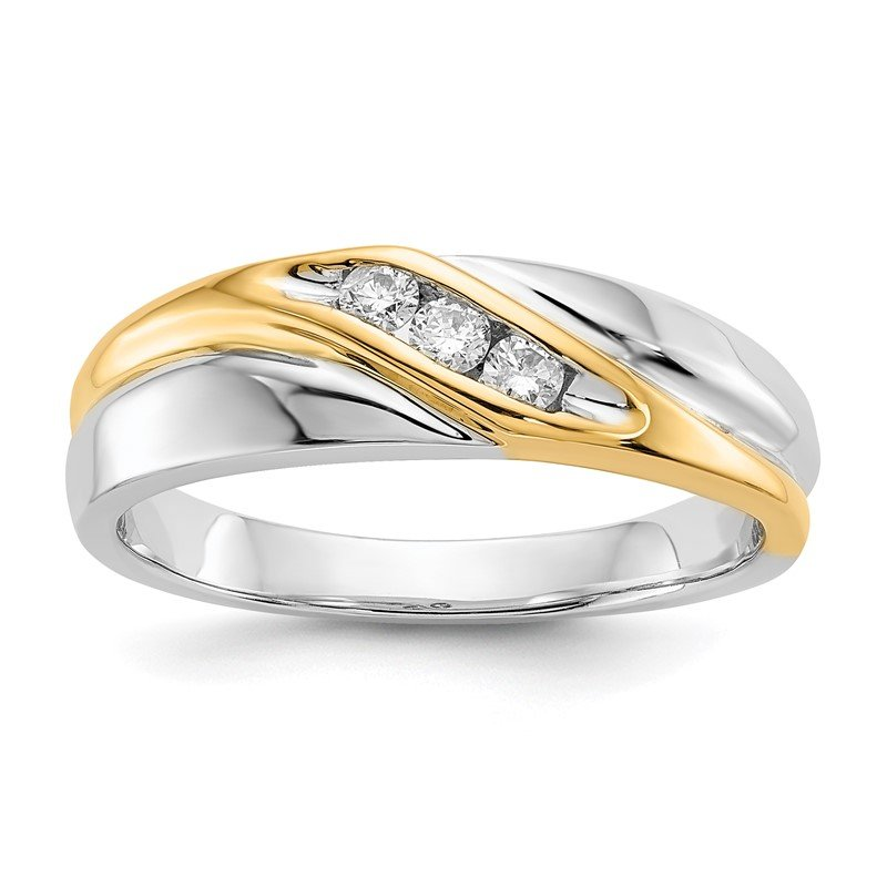 Quality Gold 14k Two-tone Diamond Mens Ring