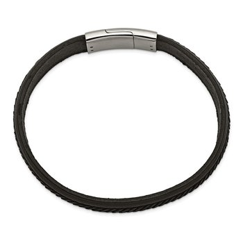Stainless Steel Polished Black Italian Leather 8.75in Bracelet