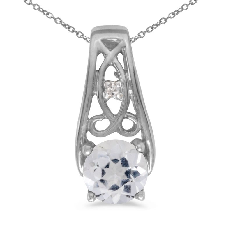 14k White Gold Round White Topaz And Diamond Pendant