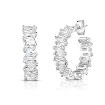 Silver White CZ Scattered Hoop Earrings