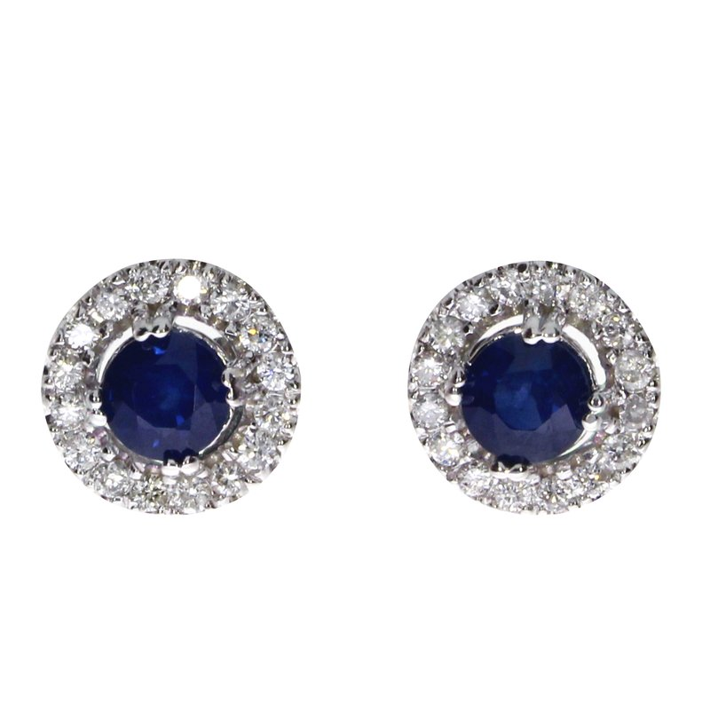 Color Merchants 14k White Gold Sapphire and Diamond Halo Earrings