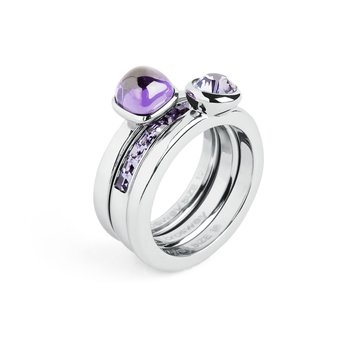 316L stainless steel, amy blue zircon and tanzanite Swarovski® Elements.