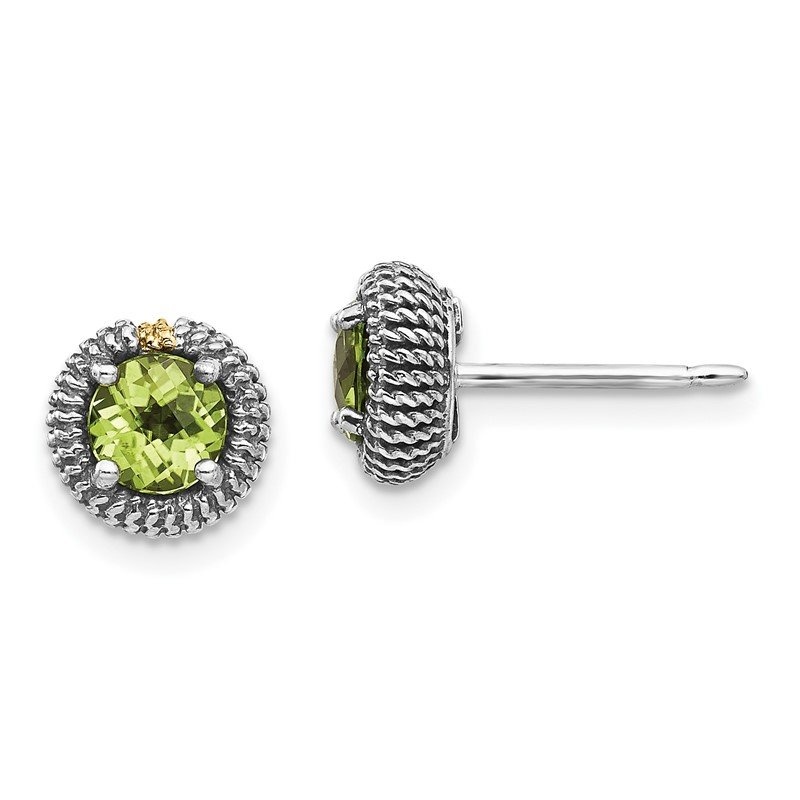 Quality Gold Sterling Silver w/14k Peridot Post Earrings