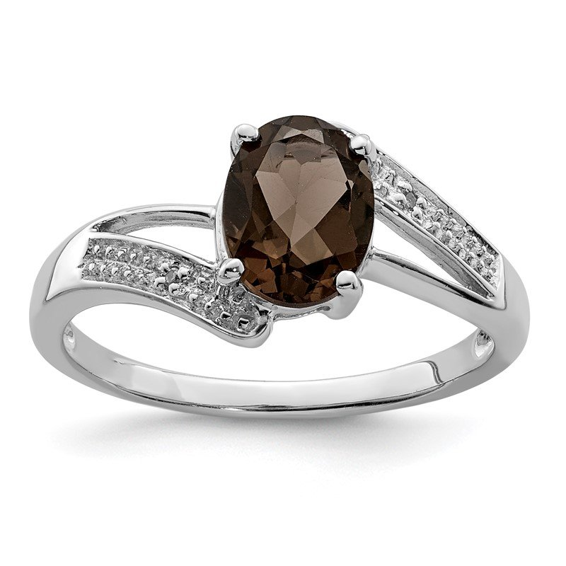 Quality Gold Sterling Silver Rhodium Smoky Quartz & Diamond Ring