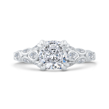 18K White Gold Cushion Diamond Engagement Ring with Bezel Set (Semi-Mount)
