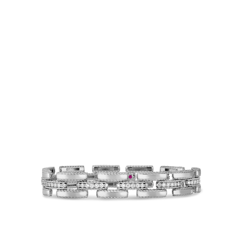 Roberto Coin Retro Link Bracelet With Diamonds