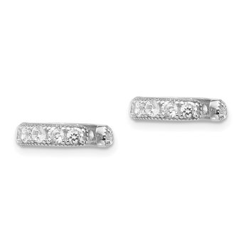 Sterling Silver Rhodium-plated CZ Ear Cuff Earrings