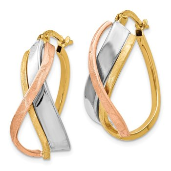 Leslie's 14K Tri-color Polished and Brushed Fancy Hoop Earrings
