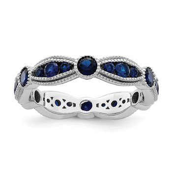 Sterling Silver Rhodium-plated Synthetic Blue Spinel Eternity Band