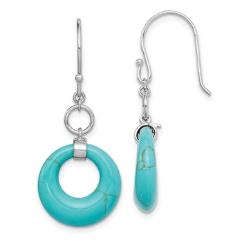 Sterling Silver Rhodium-plated Created Turquoise Circle Dangle Earrings