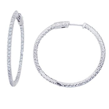 14K White Gold 2.10 Ct 35 mm Secure Lock Hoop Earrings