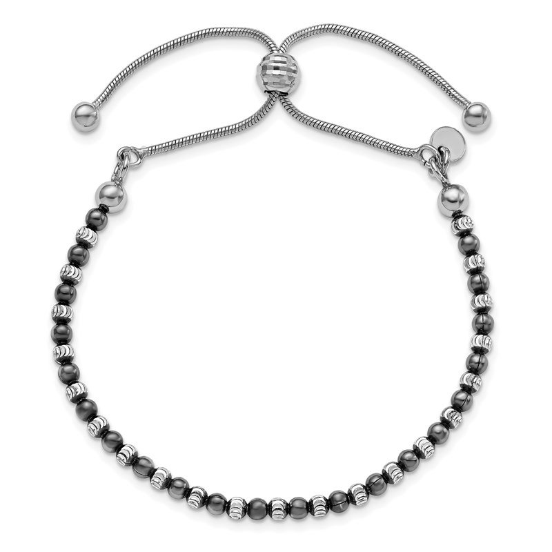 Leslie's Leslie's Sterling Silver Ruthenium-plated D/C Adjustable Bracelet