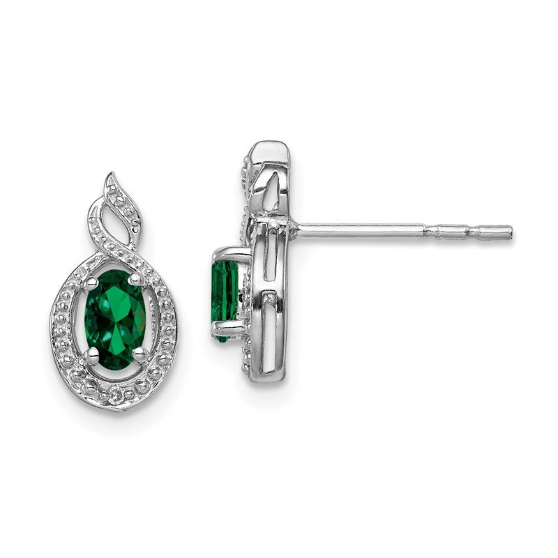 Quality Gold Sterling Silver Rhodium-plated Created Emerald & Diam. Earrings