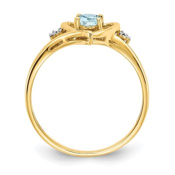 14k Aquamarine and Diamond Heart Ring