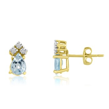 14k Yellow Gold Aquamarine Pear Earrings with Diamonds