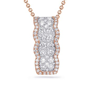White & Rose Gold Diamond Pendant