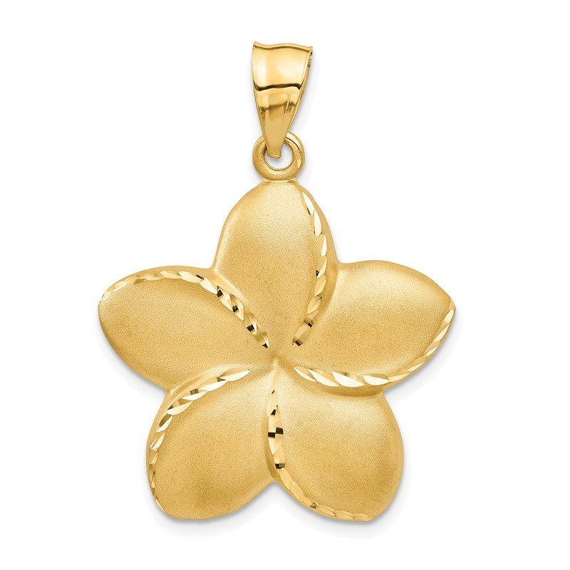Quality Gold 14k Satin Diamond-cut Open-Backed Large Plumeria Pendant