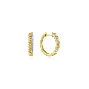 14K Yellow Gold Beaded Pavé 10mm Diamond Huggie Earrings