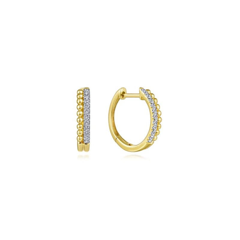 Gabriel Fashion 14K Yellow Gold Beaded Pave 10mm Diamond Huggie Earrings