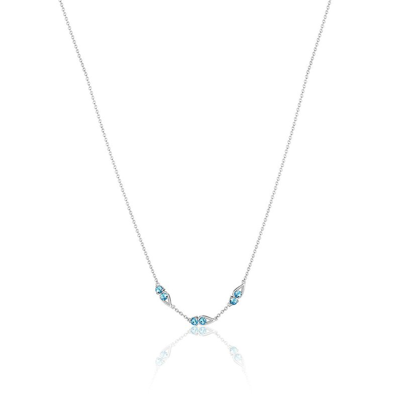 Tacori Fashion Petite Open Crescent Gemstone Necklace with London Blue Topaz