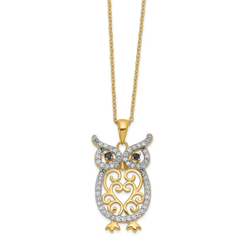 Cheryl M Cheryl M Sterling Silver Gold-plated w/Rhodium CZ Owl 18in Necklace