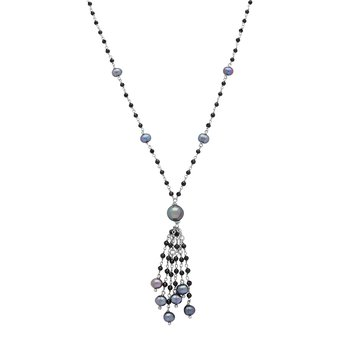"Honora Sterling Silver 7-8mm Black Ringed Freshwater Culture Pearl Faceted Spinel Tassle 20"" Necklace"