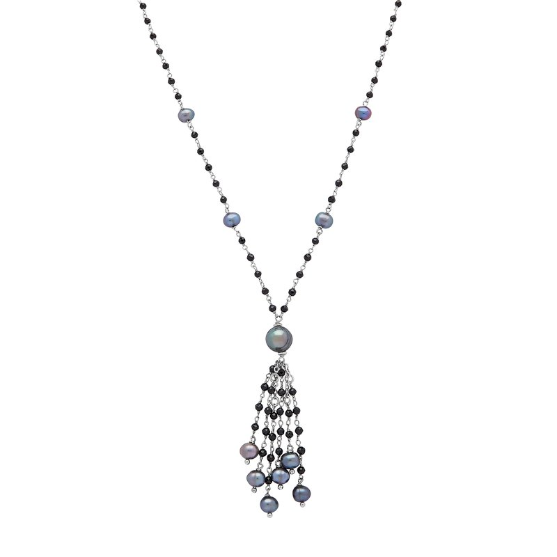 "Honora Honora Sterling Silver 7-8mm Black Ringed Freshwater Culture Pearl Faceted Spinel Tassle 20"" Necklace"