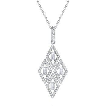 Diamond Kite Shaped Mosaic Necklace Set in 14 Kt. Gold