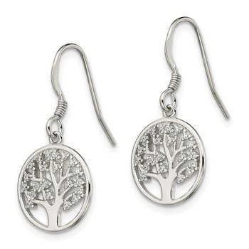 Sterling Silver CZ Tree of Life Dangle Shepherd Hook Earrings