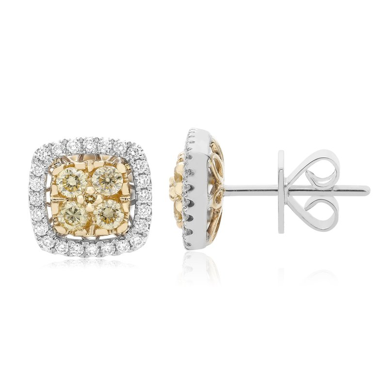 Roman & Jules Two Tone Diamond Cluster Earrings