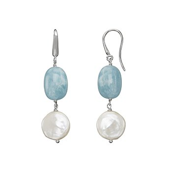 Honora Sterling Silver 13-14mm White Coin Freshwater Culture Pearl with Aquamarine Drop Earrings