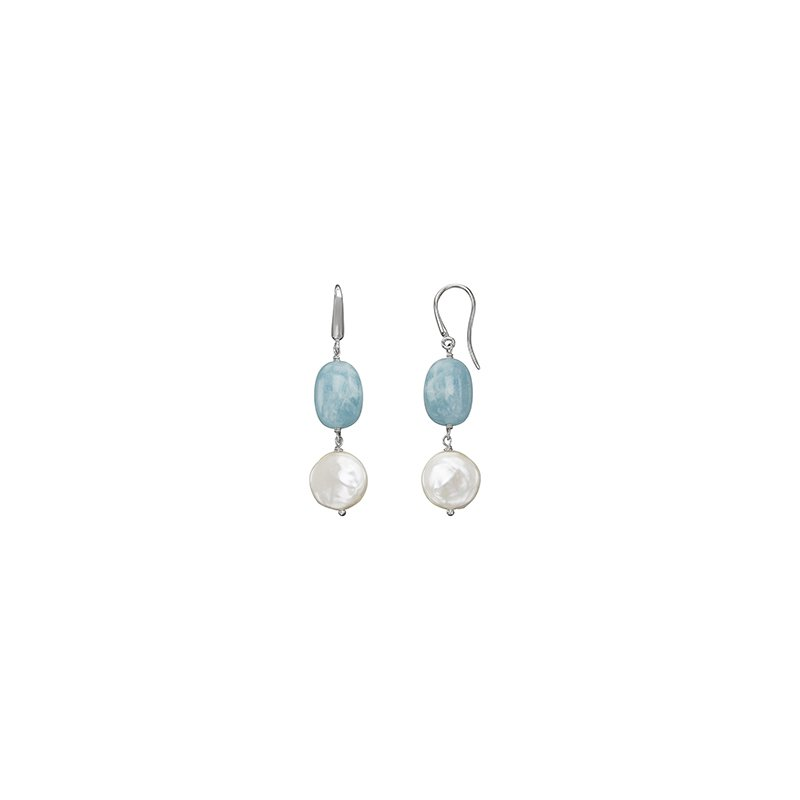 Honora Honora Sterling Silver 13-14mm White Coin Freshwater Culture Pearl with Aquamarine Drop Earrings