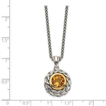 Sterling Silver w/14k Citrine Necklace