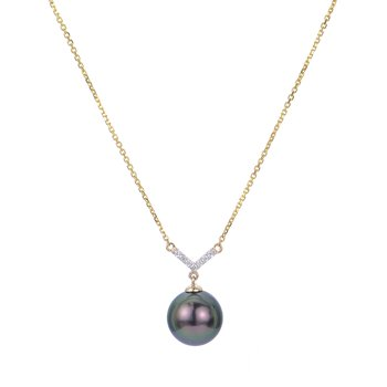 14K Yellow Gold Tahitian Pearl Necklace