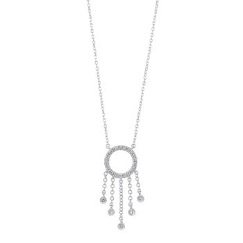 Diamond Chandelier Dream Catcher Pendant Necklace in 14k White Gold (1/7ctw)