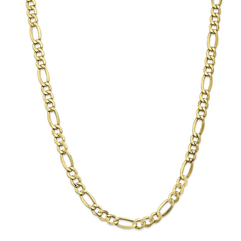 Quality Gold 10k 7.3mm Semi-Solid Figaro Chain