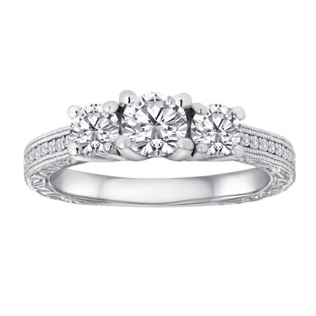 14KW 1/4CTW RD ENGRAVED 3STONE BRIDAL RING
